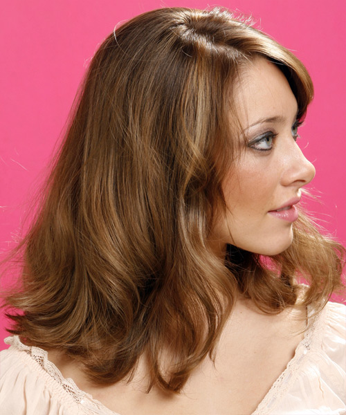 Long Wavy Casual   Hairstyle with Side Swept Bangs  - Light Brunette (Caramel) - Side View