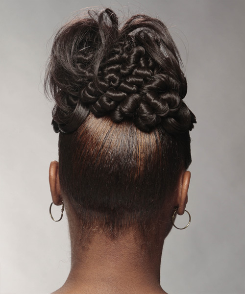 Updo Long Curly Formal Wedding Updo Hairstyle   - Black - Side View
