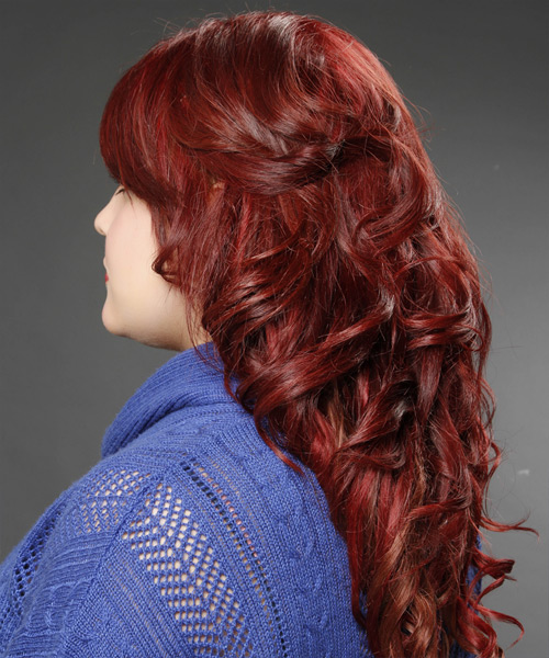 Long Curly    Burgundy Red   Hairstyle with Side Swept Bangs  - Side View