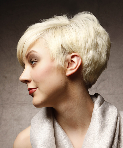 Short Straight Alternative Asymmetrical  Hairstyle   (Platinum) - Side View