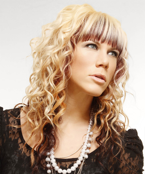 Long Curly Formal   Hairstyle with Blunt Cut Bangs  - Light Blonde (Mahogany) - Side View