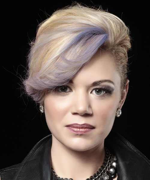 Short Straight Formal Wedding  Hairstyle   - Light Blonde (Ash) - Side View