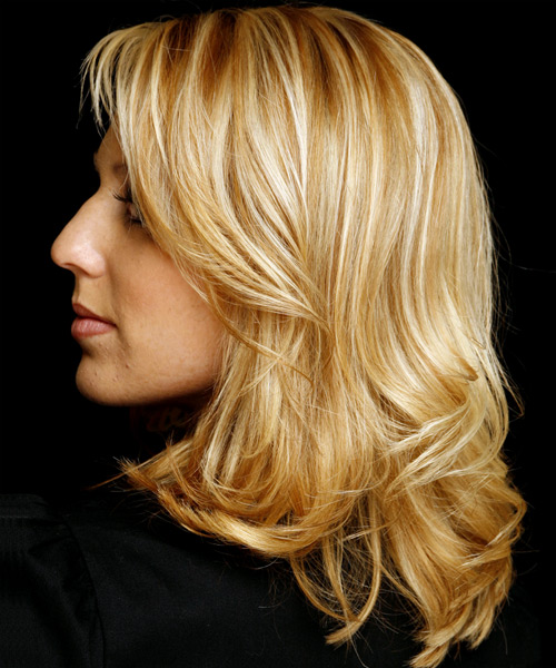 Long Wavy Casual   Hairstyle   (Golden) - Side View