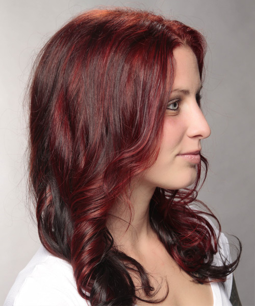 Long Wavy Casual    Hairstyle   -  Red and Dark Brunette Two-Tone Hair Color - Side View