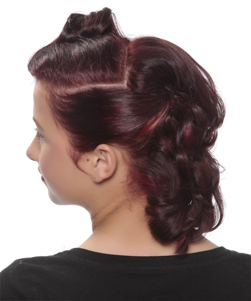 Medium Curly Formal   Updo Hairstyle   - Dark Burgundy Red Hair Color - Side View