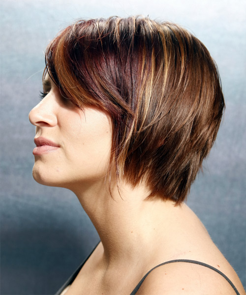 Short Straight Casual    Hairstyle with Side Swept Bangs  - Chestnut Hair Color - Side View