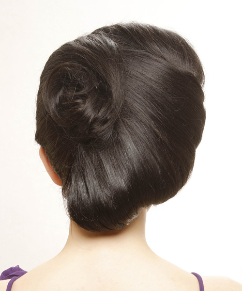 Long Straight   Black   Updo  with Side Swept Bangs  - Side View