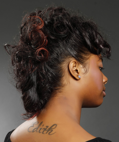 Medium Curly Formal   Updo Hairstyle   - Black  Hair Color with  Red Highlights - Side View