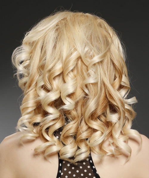 Medium Curly Formal    Hairstyle with Side Swept Bangs  - Light Honey Blonde Hair Color with Light Blonde Highlights - Side View