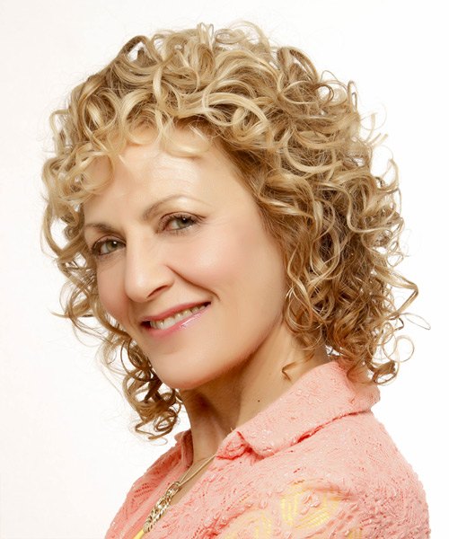 Medium Curly Casual    Hairstyle   -  Golden Blonde Hair Color with Light Blonde Highlights - Side View