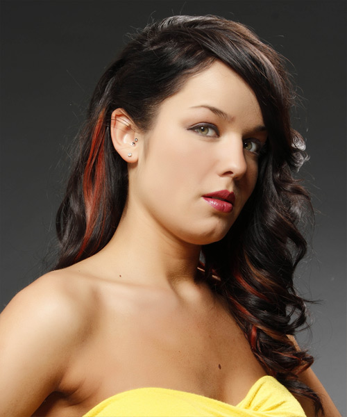 Long Curly Formal   Half Up Hairstyle   - Mocha Hair Color with  Red Highlights - Side View