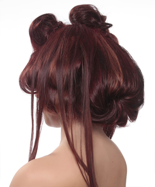 Long Straight Alternative Emo Updo Hairstyle   - Medium Red (Burgundy) - Side View