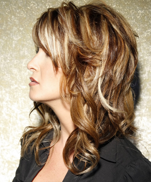 Long Wavy Casual    Hairstyle with Side Swept Bangs  -  Caramel Brunette Hair Color with Light Blonde Highlights - Side View