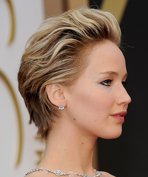 Jennifer Lawrence Short Straight Formal   Hairstyle   - Medium Brunette (Chestnut) - Side View