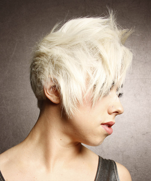 Short Straight Alternative  Asymmetrical  Hairstyle   - Light White Blonde and Dark Brunette Two-Tone Hair Color - Side View