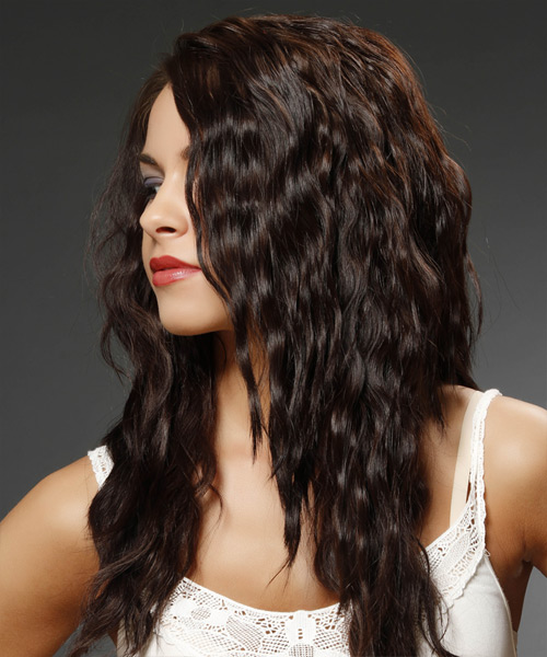 Long Wavy Casual    Hairstyle   - Mocha Hair Color - Side View