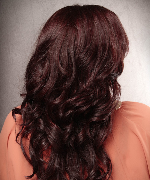 Long Wavy   Dark Burgundy Red   Hairstyle   - Side View