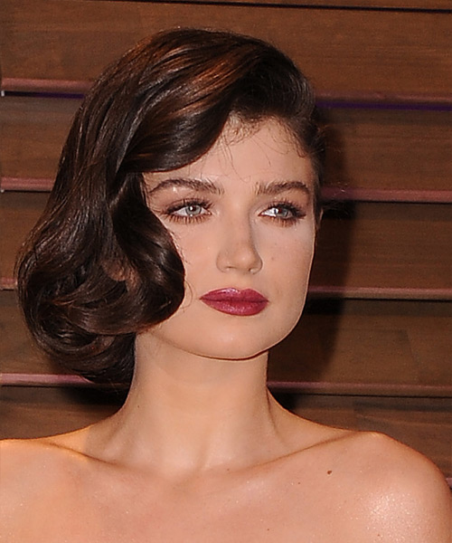 Eve Hewson Updo Medium Curly Formal Wedding Updo Hairstyle   - Dark Brunette (Mocha) - Side View