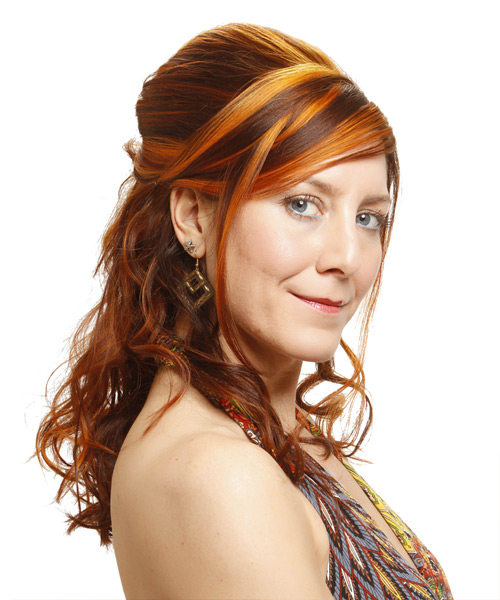 Long Curly Formal   Half Up Hairstyle   - Medium Ginger Brunette Hair Color with Medium Red Highlights - Side View