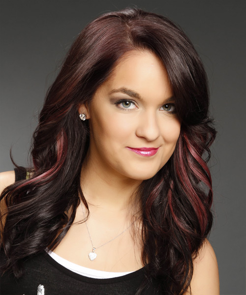 Long Wavy   Dark Plum Red   Hairstyle   with Pink Highlights - Side View