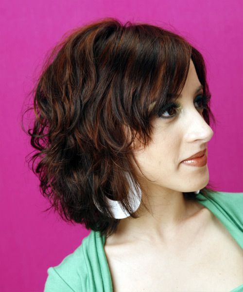 Medium Wavy Casual   Hairstyle with Side Swept Bangs  - Dark Brunette - Side View