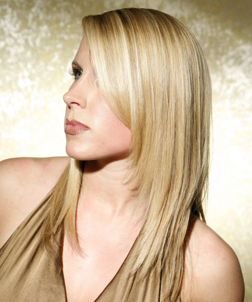 Long Straight Formal    Hairstyle   - Medium Ash Blonde Hair Color - Side View