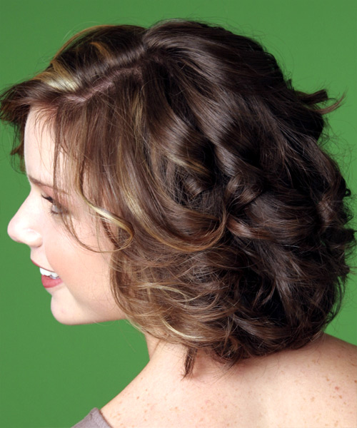 Medium Wavy Casual    Hairstyle with Side Swept Bangs  -  Mocha Brunette Hair Color with  Blonde Highlights - Side View