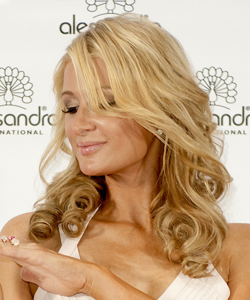 Paris Hilton Long Curly    Blonde   Hairstyle   with Light Blonde Highlights - Side View