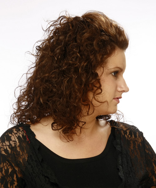 Medium Curly    Chocolate Brunette   Hairstyle   - Side View