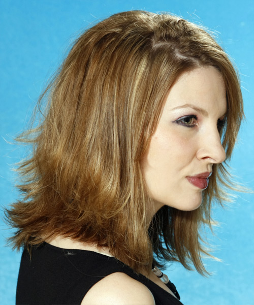 Long Straight Casual   Hairstyle   - Dark Blonde (Ash) - Side View