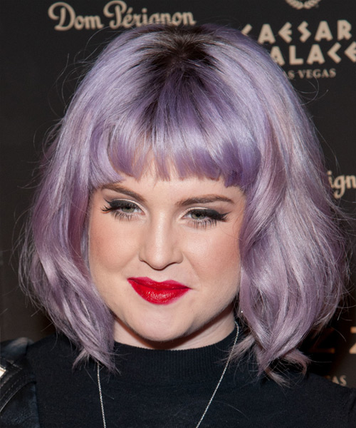 Kelly Osbourne Medium Straight     Hairstyle with Blunt Cut Bangs  - Side View