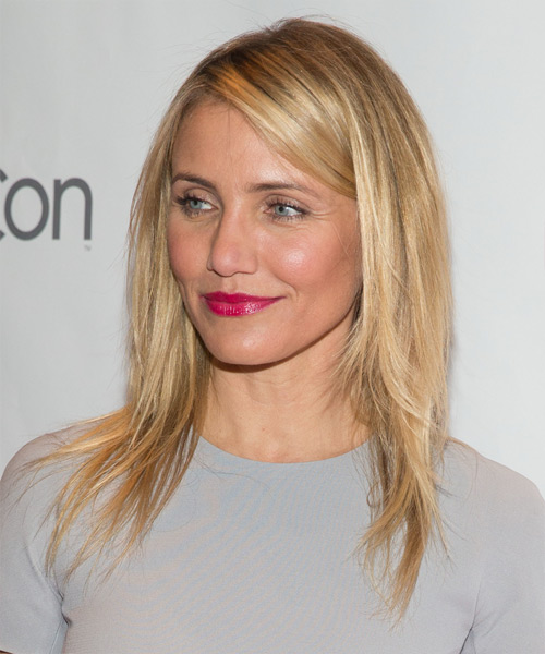 Cameron Diaz Long Straight Casual    Hairstyle   -  Strawberry Blonde Hair Color with Light Blonde Highlights - Side View