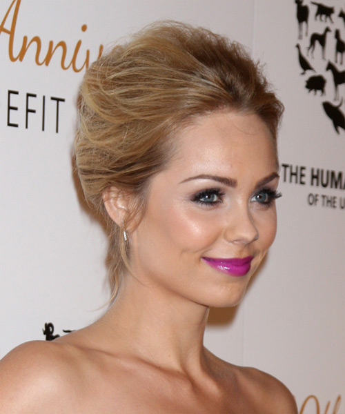 Laura Vandervoort Updo Long Straight Formal Wedding Updo Hairstyle   - Dark Blonde - Side View