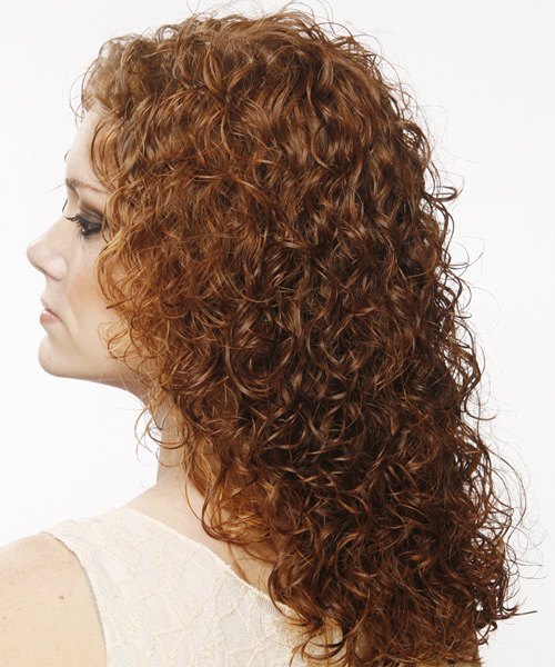 Long Curly Casual    Hairstyle   - Medium Auburn Brunette Hair Color - Side View