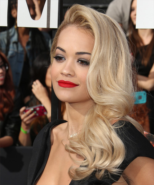 Rita Ora Long Wavy Formal    Hairstyle   - Light Blonde Hair Color - Side View