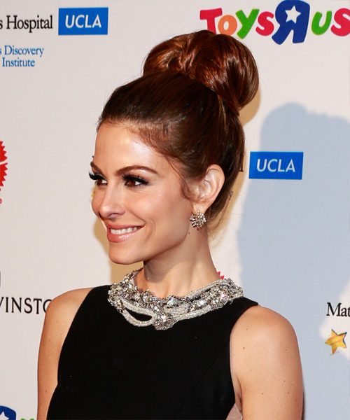 Maria Menounos Updo Long Straight Formal Wedding Updo Hairstyle   - Medium Red (Mahogany) - Side View