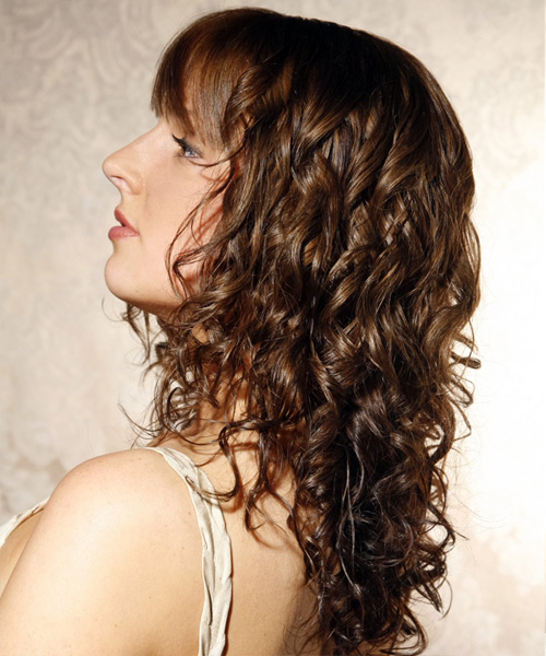 Long Curly Casual    Hairstyle with Blunt Cut Bangs  -  Ash Brunette Hair Color - Side View