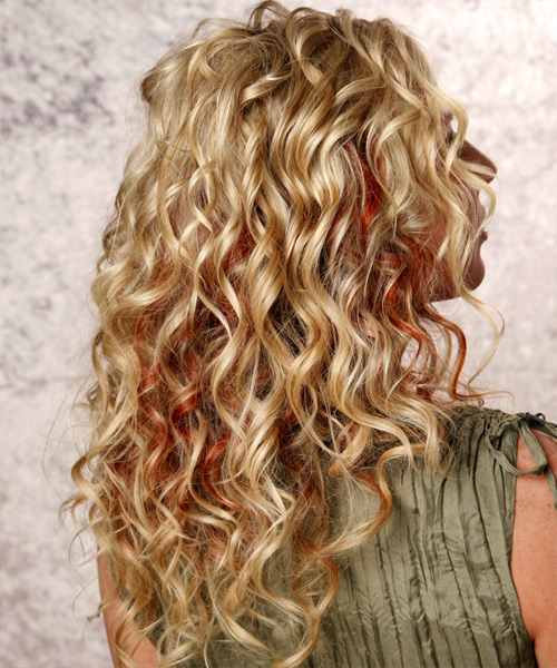 Long Curly Casual    Hairstyle   -  Golden Blonde Hair Color with  Red Highlights - Side View