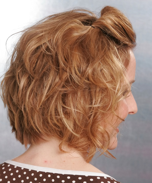 Updo Medium Curly Formal  Updo Hairstyle   - Dark Blonde (Copper) - Side View