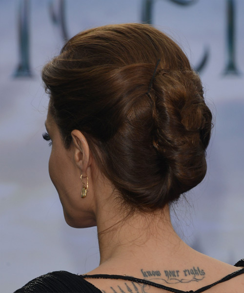 Angelina Jolie Updo Long Straight Formal Wedding Updo Hairstyle   - Medium Brunette - Side View