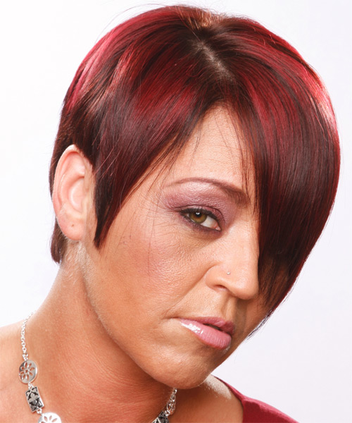 Short Straight Casual   Hairstyle   - Dark Red - Side View