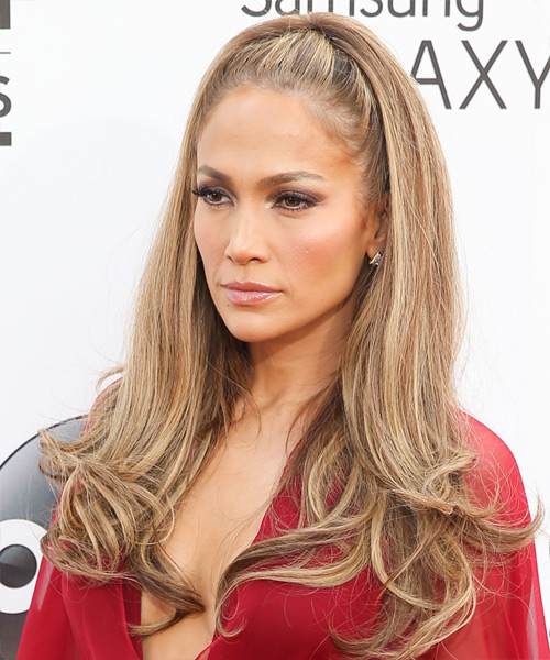 Jennifer Lopez Long Straight Formal    Hairstyle   - Light Caramel Brunette Hair Color with  Blonde Highlights - Side View
