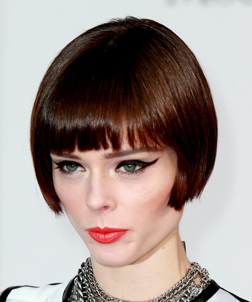 Coco Rocha Short Straight Formal   Hairstyle with Blunt Cut Bangs  - Medium Brunette - Side View