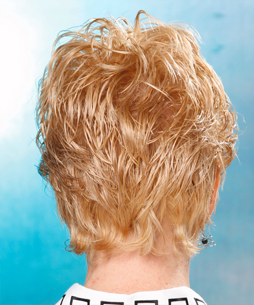 Short Wavy Casual   Hairstyle with Layered Bangs  - Light Blonde (Golden) - Side View