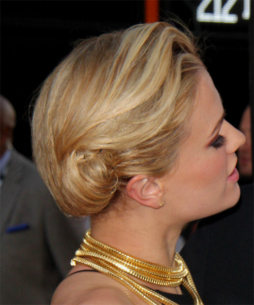 Anna Paquin  Long Straight   Dark Blonde  Updo    - Side View
