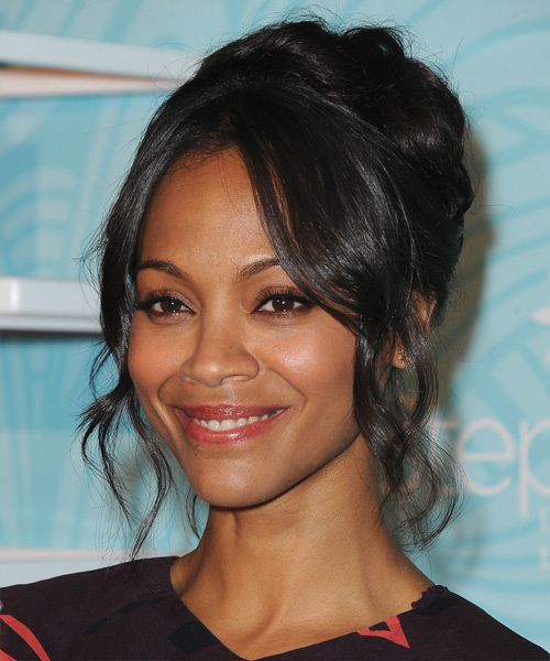 Zoe Saldana Long Curly Black Updo