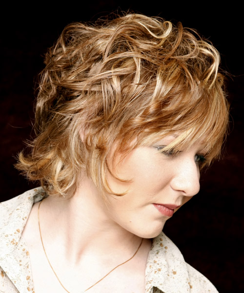 Medium Wavy Casual    Hairstyle with Layered Bangs  - Dark Golden Blonde Hair Color with Light Blonde Highlights - Side View