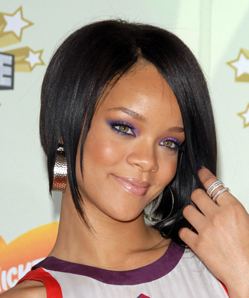 Rihanna Medium Straight Alternative Asymmetrical  Hairstyle   - Black - Side View