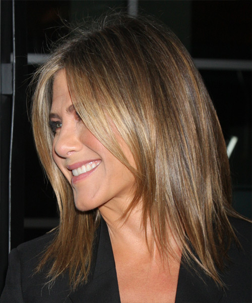 Jennifer Aniston Medium Straight    Caramel Brunette   Hairstyle   with Dark Blonde Highlights - Side View