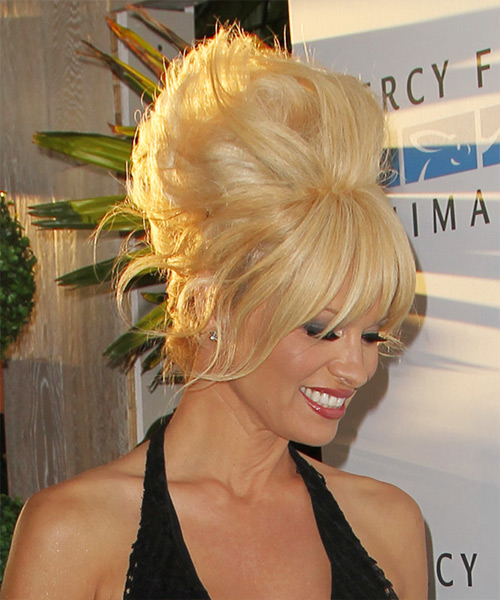 Pamela Anderson Long Straight    Honey Blonde  Updo  with Layered Bangs  - Side View